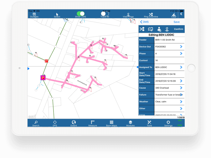 utilities gis software outage management view on ipad